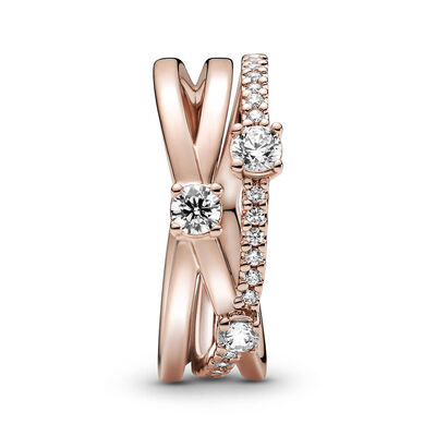 Pandora Rose™ Sparkling CZ Triple Band Ring