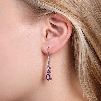 Rose Gold Graduated Color Amethyst & Diamond Earrings 14K