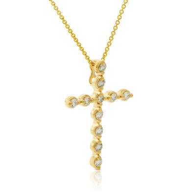 Bezel Set Diamond Cross Necklace 14K