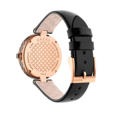 Gucci DIAMANTISSIMA Rose Gold PVD Black Dial Watch
