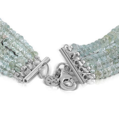 Lisa Bridge Multi-Strand Aquamarine Bead Necklace