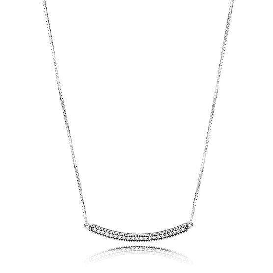 Pandora Hearts Of Pandora Cz Bar Necklace 397420cz 50