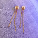 Wheat Chain Tassel Earrings 14K
