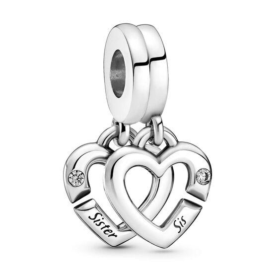 Pandora Linked Sister Hearts CZ Split Dangle Charm