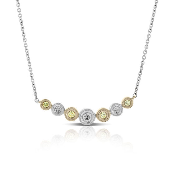 Graduated Yellow & White Diamond Necklace 14K