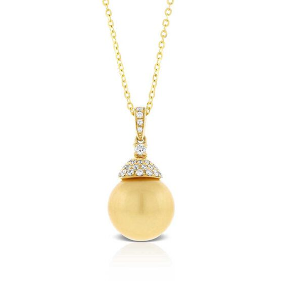 Golden South Sea Pearl & Diamond Necklace 14K