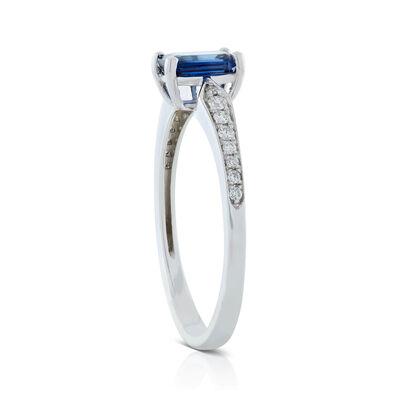 Emerald Cut Sapphire & Diamond Ring 14K