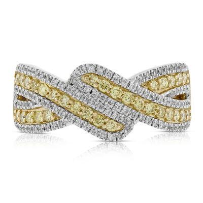 Yellow & White Entwined Diamond Band 14K