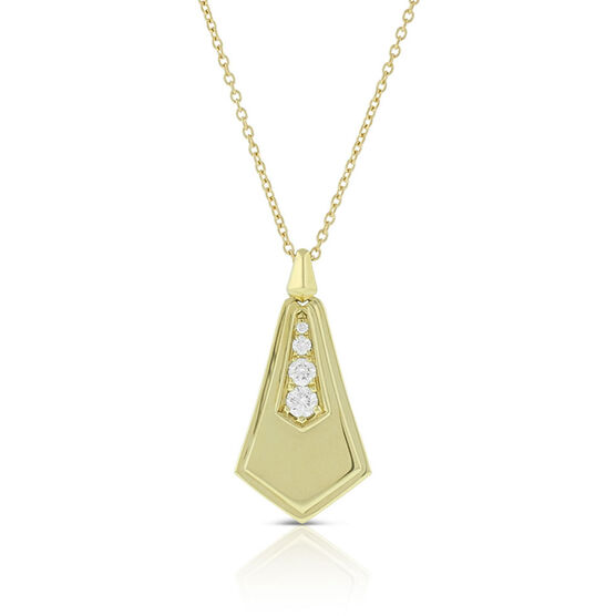 Jade Trau for Signature Forevermark Diamond Solid Sheild Necklace 18K