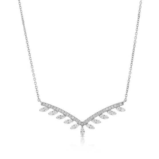 "Diamond Drops ""V"" Necklace 14K"