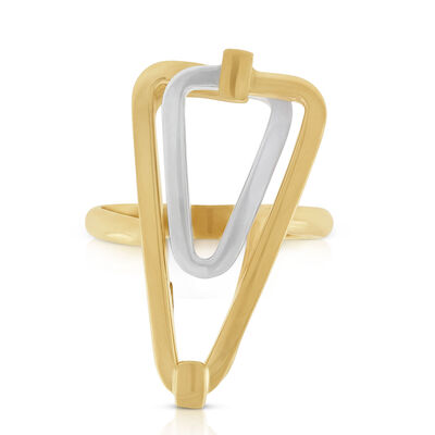 Toscano Double Link Triangle Ring 18K