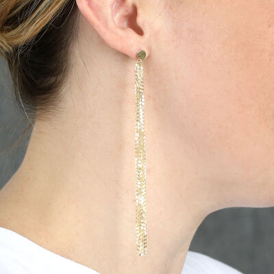 Disc & Tassel Dangle Earrings 14K