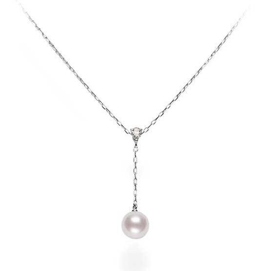 Mikimoto Akoya Cultured Pearl & Diamond 'Y' Drop Necklace 18K