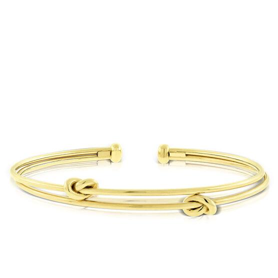 Toscano Double Love Knot Cuff Bangle 14K