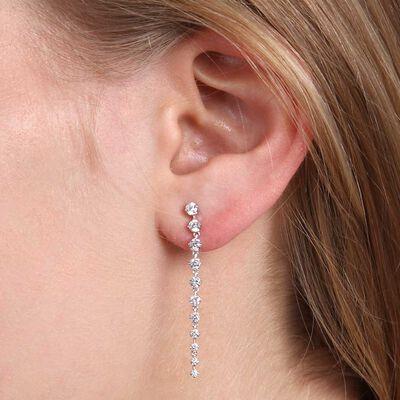 Graduated Diamond Dangle Earrings 14K