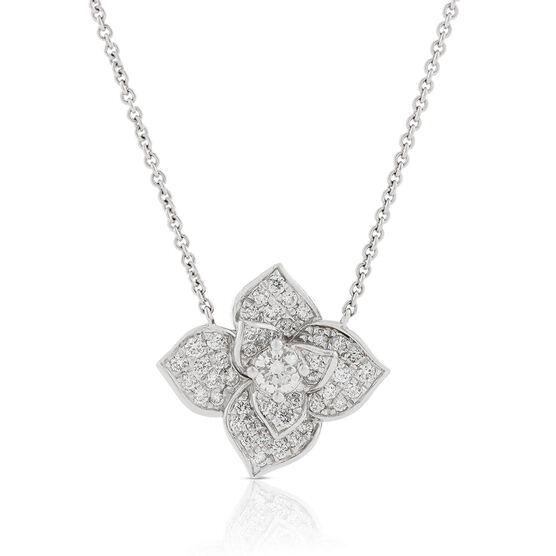 Pavé Diamond Flower Necklace 14K