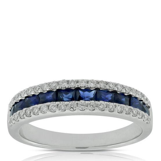 Sapphire & Diamond Band 14K