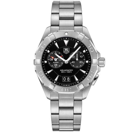 TAG Heuer Aquaracer Quartz Alarm Mens Black Steel Watch