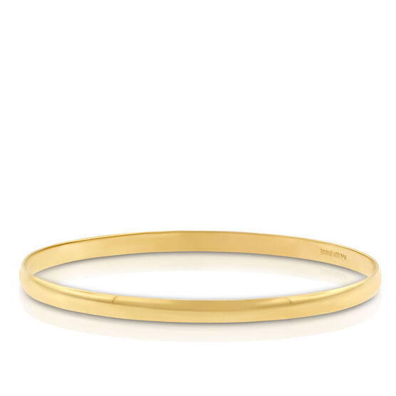 Gold Bangle Bracelet 14K, 4mm