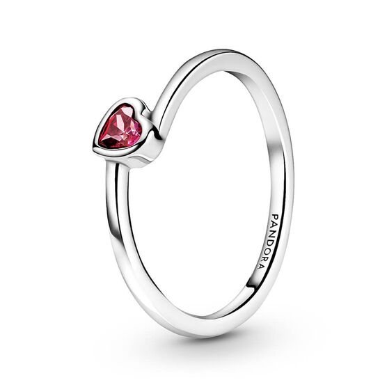 Pandora Red Tilted Heart Solitaire CZ Ring