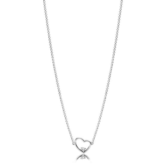 PANDORA Asymmetric Heart of Love CZ Necklace