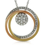 Tri-Color Circle Diamond Convertible Pendant 14K