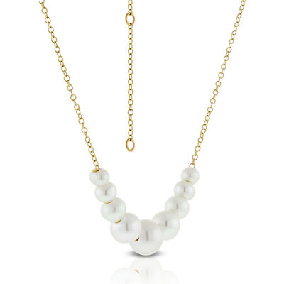 Floating Cultured Freshwater Pearl Necklace 14K