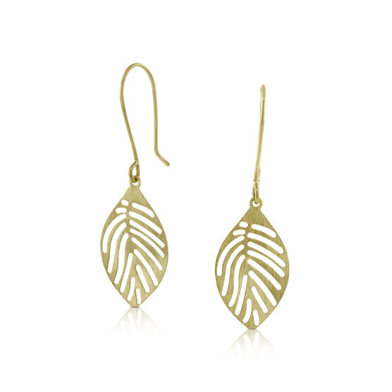 Dangle Leaf Earrings 14K