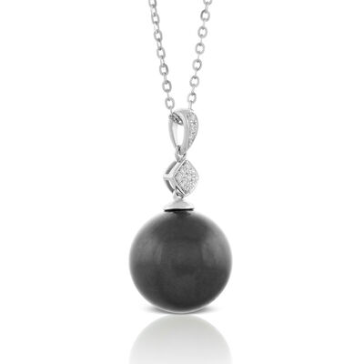 Cultured South Sea Tahitian Pearl & Diamond Necklace 14K