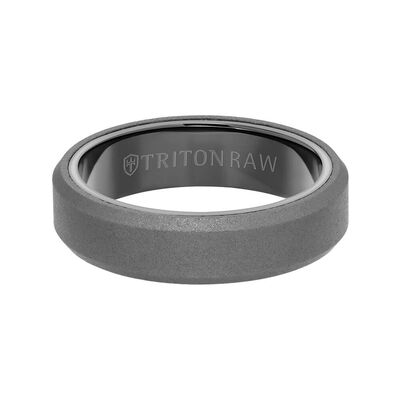 TRITON RAW Comfort Fit Sandblasted Matte Finish Bevel Edge Band in Tungsten, 6 mm