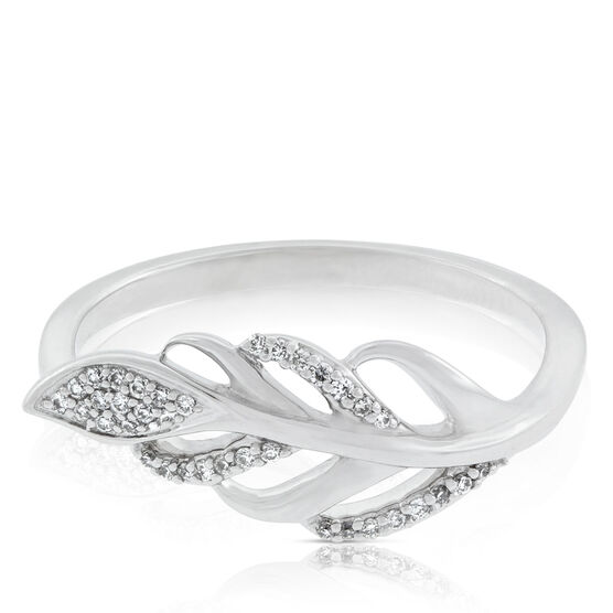Diamond Feather Leaf Ring 14K