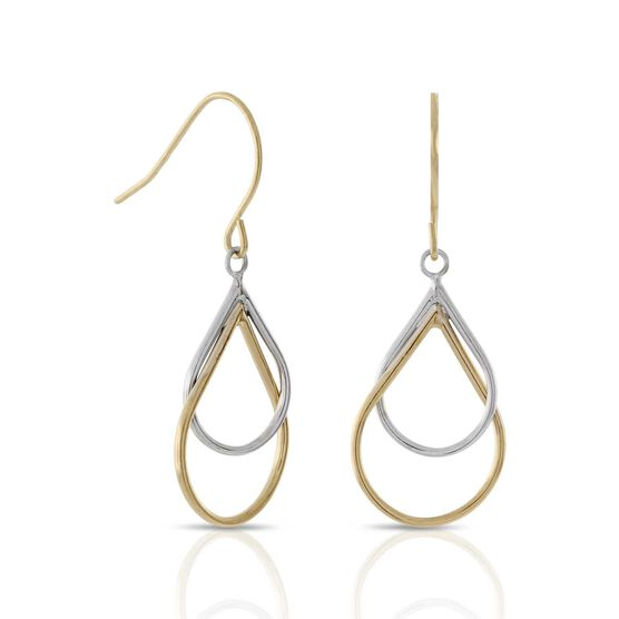 Double Pear Dangle Earrings 14K