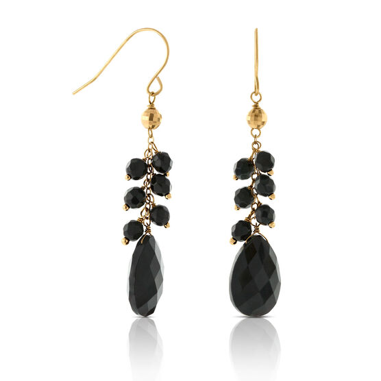Onyx Drop Dangle Earrings 14K