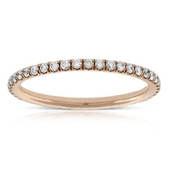Rose Gold Diamond Eternity Band 14K, Size 4