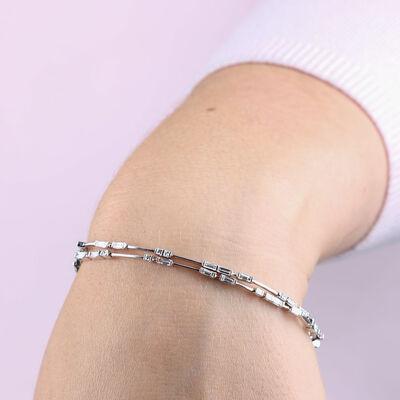 ICE FALL Baguette Cut  Diamond Bracelet 14K