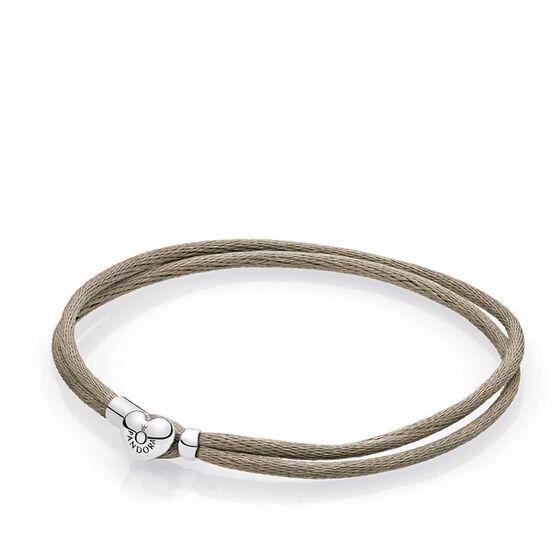 PANDORA Grey Green Fabric Cord Bracelet