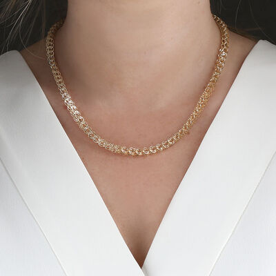Toscano Soft Round Link Necklace 14K