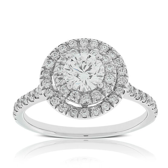 Signature Forevermark Double Halo Diamond Ring 18K