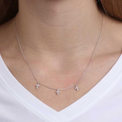 Diamond Mini Cross Station Necklace 14K