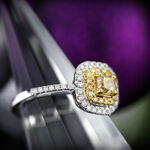 Cushion Cut Yellow Diamond Halo Ring 14K