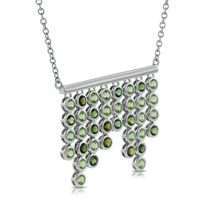 Lisa Bridge Bezel Set Peridot & Tourmaline Necklace