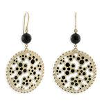 Toscano Onyx & Black Enamel Dangle Earrings 14K