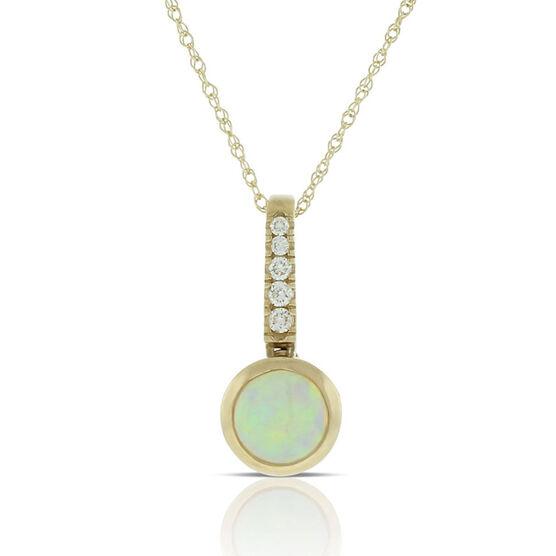 Bezel Set Opal & Diamond Necklace 14K