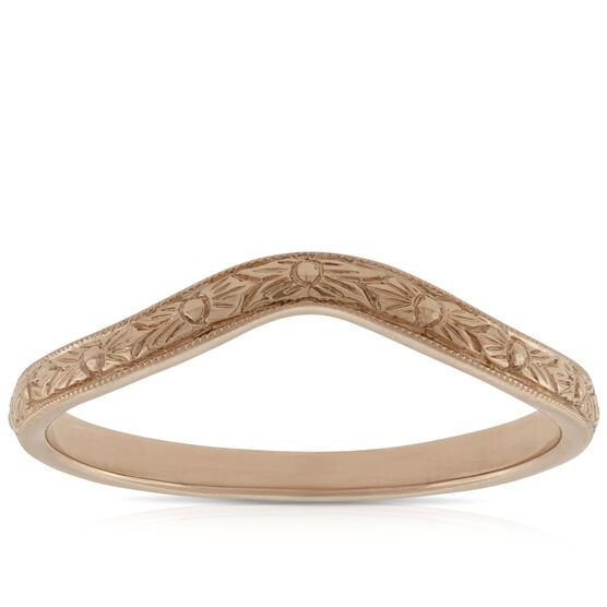 Rose Gold Hand Engraved Band 14K