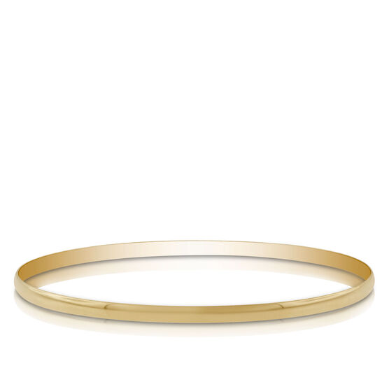 Gold Bangle Bracelet 14K, 3mm