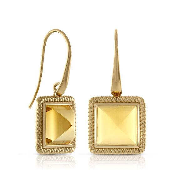 Citrine Pyramid Rope Bezel Set Earrings 14K