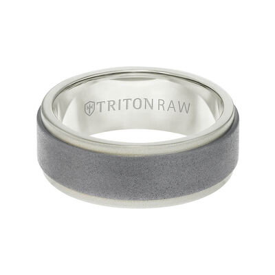 TRITON RAW Contemporary Comfort Fit Sandblasted Matte Finish Band in Tungsten & 18K, 8 mm