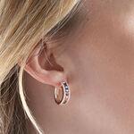 Rose Gold Rainbow Sapphire & Diamond Hoop Earrings 14K