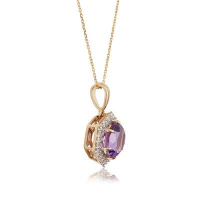 Amethyst & Diamond Hexagon Halo Necklace 14K