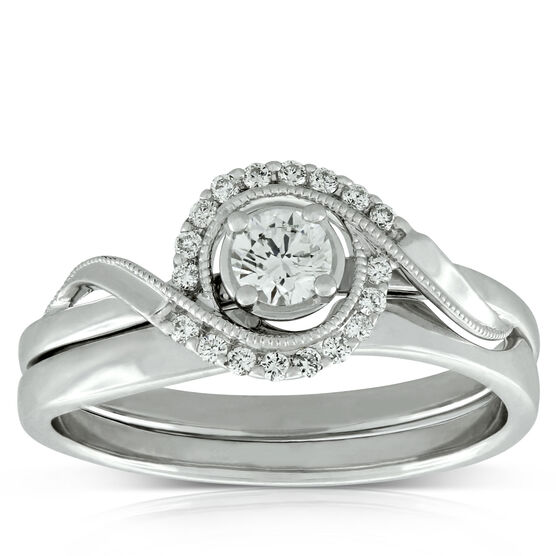 Diamond Swirl Wedding Set 14K